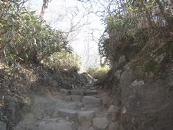 女体山山頂から男体山山頂に向かう道
